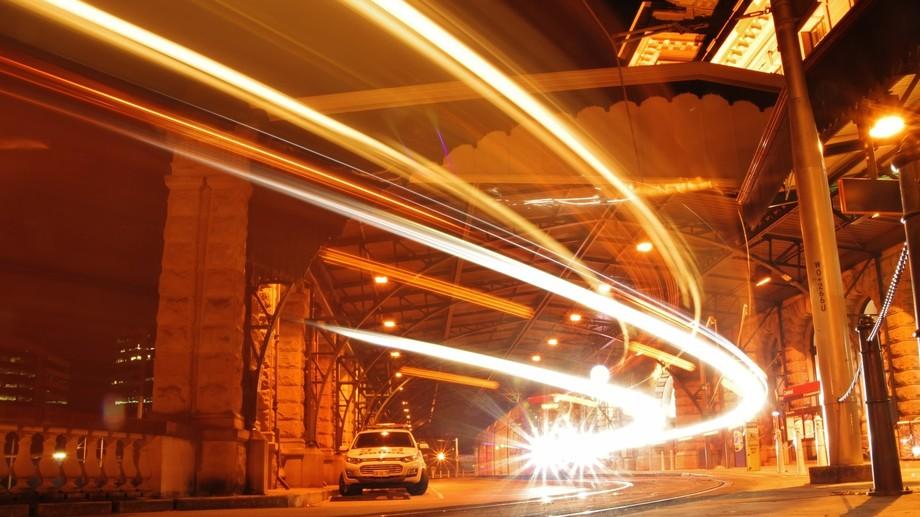 Sydney Metro Light Rail light trail @ Central 27-5-2017