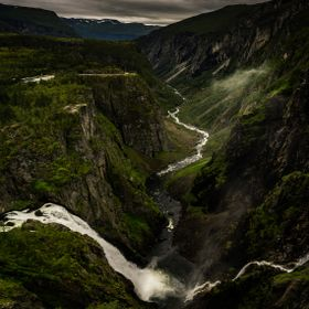 This is my first attempt on stitching together a  panorama. Hard to catch the awesomeness of Voringfossen in one photo.