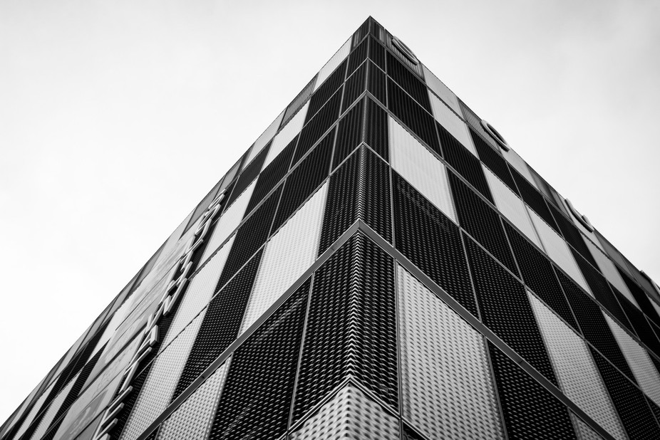 A contemporary modern shot of an architectural building in the heart of Telford Town Centre, high...