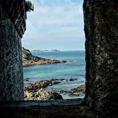 a lovely view looking through the St Malo wall.