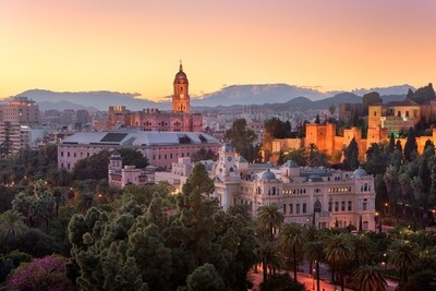 Aerial View of Malaga in the Evening