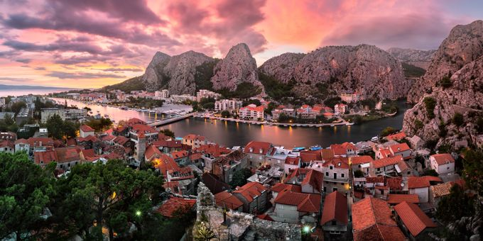 Aerial View of Omis and Cetina River Gorge at Sunset by ansharphoto - Rooftops Photo Contest 2018