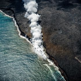 Lava flow into Pacific Ocean on the big island of Hawaii