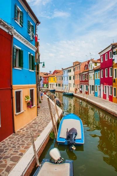 Colourful streets on Burnao, Venice, Italy