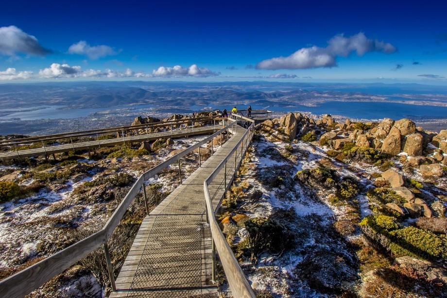 viewing platform on Mount Wellington, overlooking Hobart, Tasmania, Australia