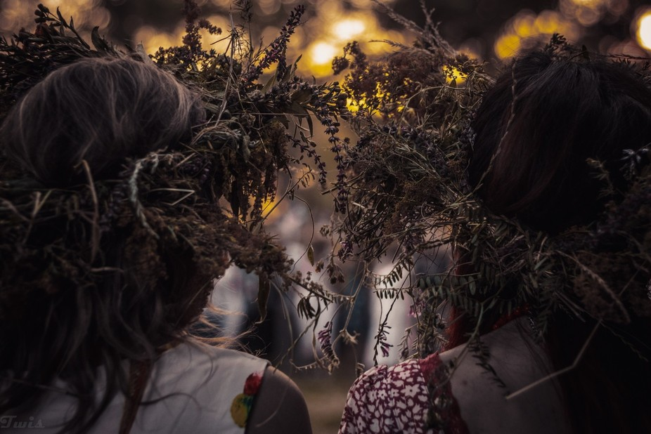 The holiday of Ivan Kupala in Ukraine on the island of Khortitsa. An ethnic holiday with many rit...