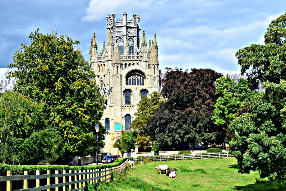 part of ely cathedral in distance