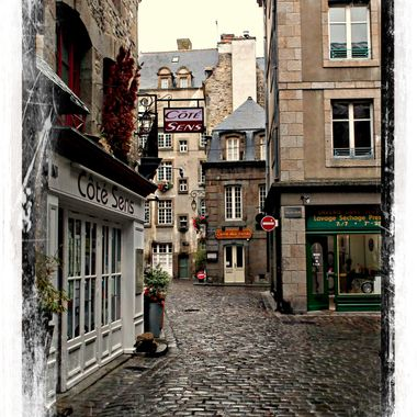 A typical French street in the walled city of St Malo.