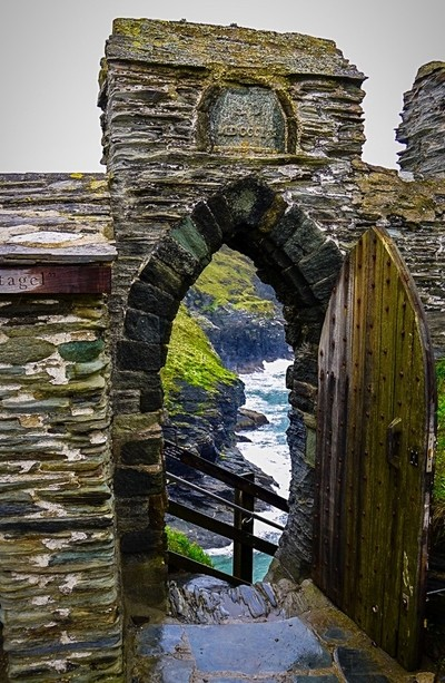 View beyond an ancient door....Tintagel Castle Cornwall