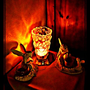 Ornaments by candlelight then manipulated.