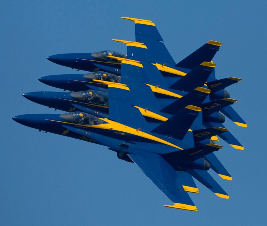 Chicago Air Show , U.S. Navy Blue Angles in formation