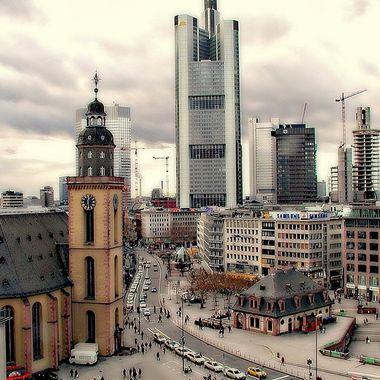 Town View of Frankfurt buildings.