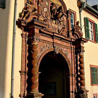A very ornate arch & entrance to Bad Homberg Castle.