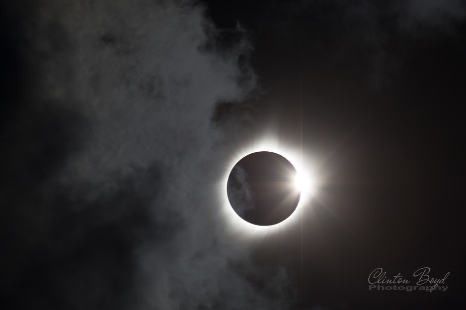 Solar eclipse coming out of totality as seen from Nashville, Tennessee.