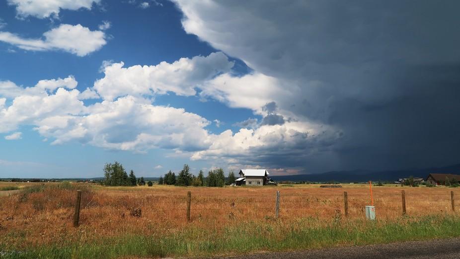 Heavy thunderstorm heading east through Idaho, nearing the Wyoming border.