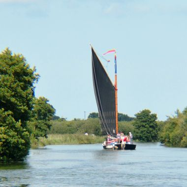 Wherry sailing on the Norfolk Broads,UK.