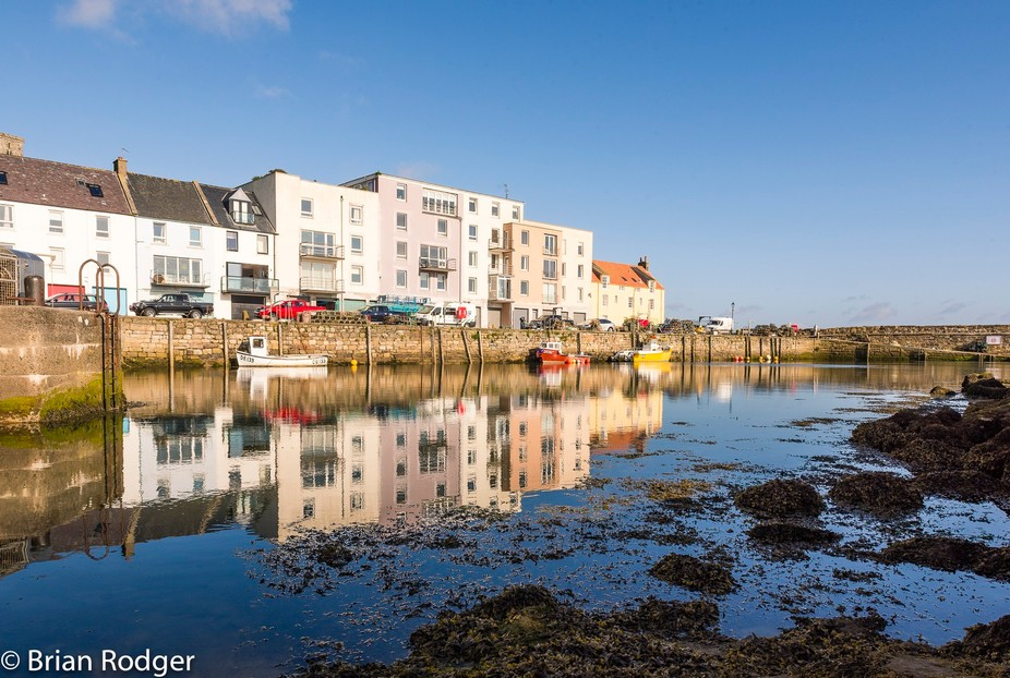 St Andrews Harbour on a clear, sunny day.