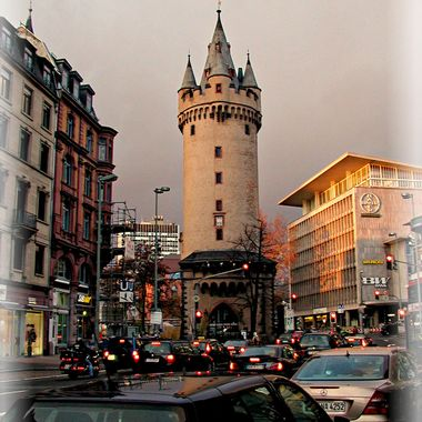 A multi turreted tower in Frankfurt.