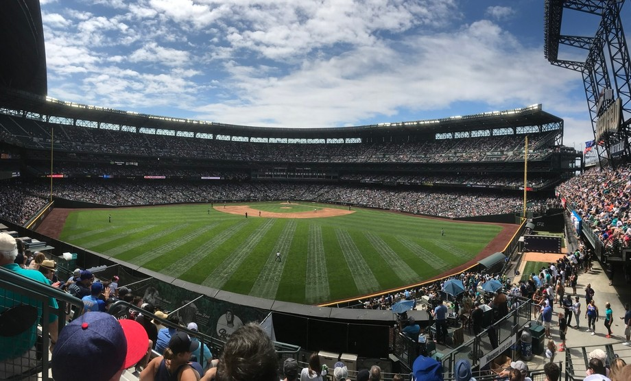 Seattle mariners and New York Yankees baseball game . Nice hot summer day when th beautiful blue ...