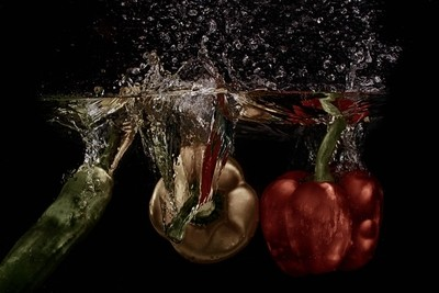 splashing  vegetables