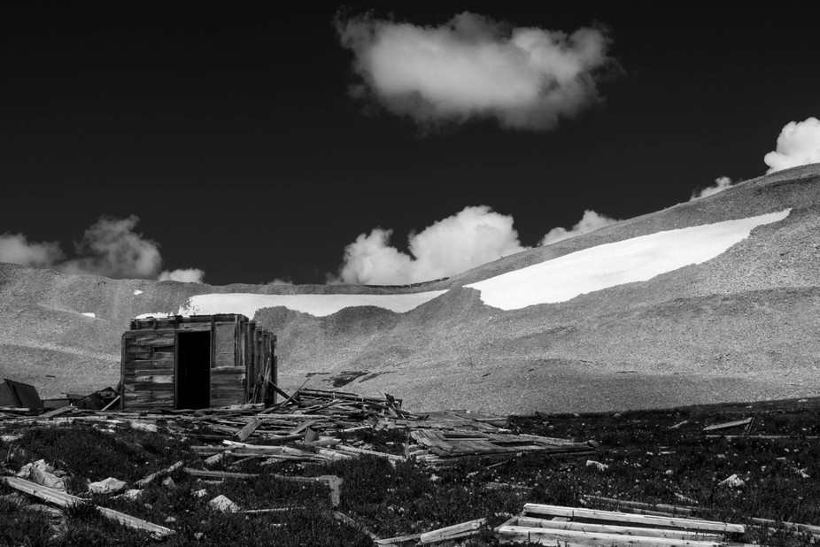Abandoned mine on Mt. Sherman, Colorado.  Black and White.