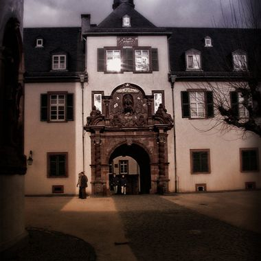 Bad Homberg castle at dusk.
