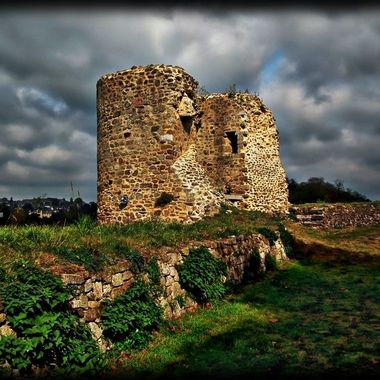 Part of a ruined castle in France.