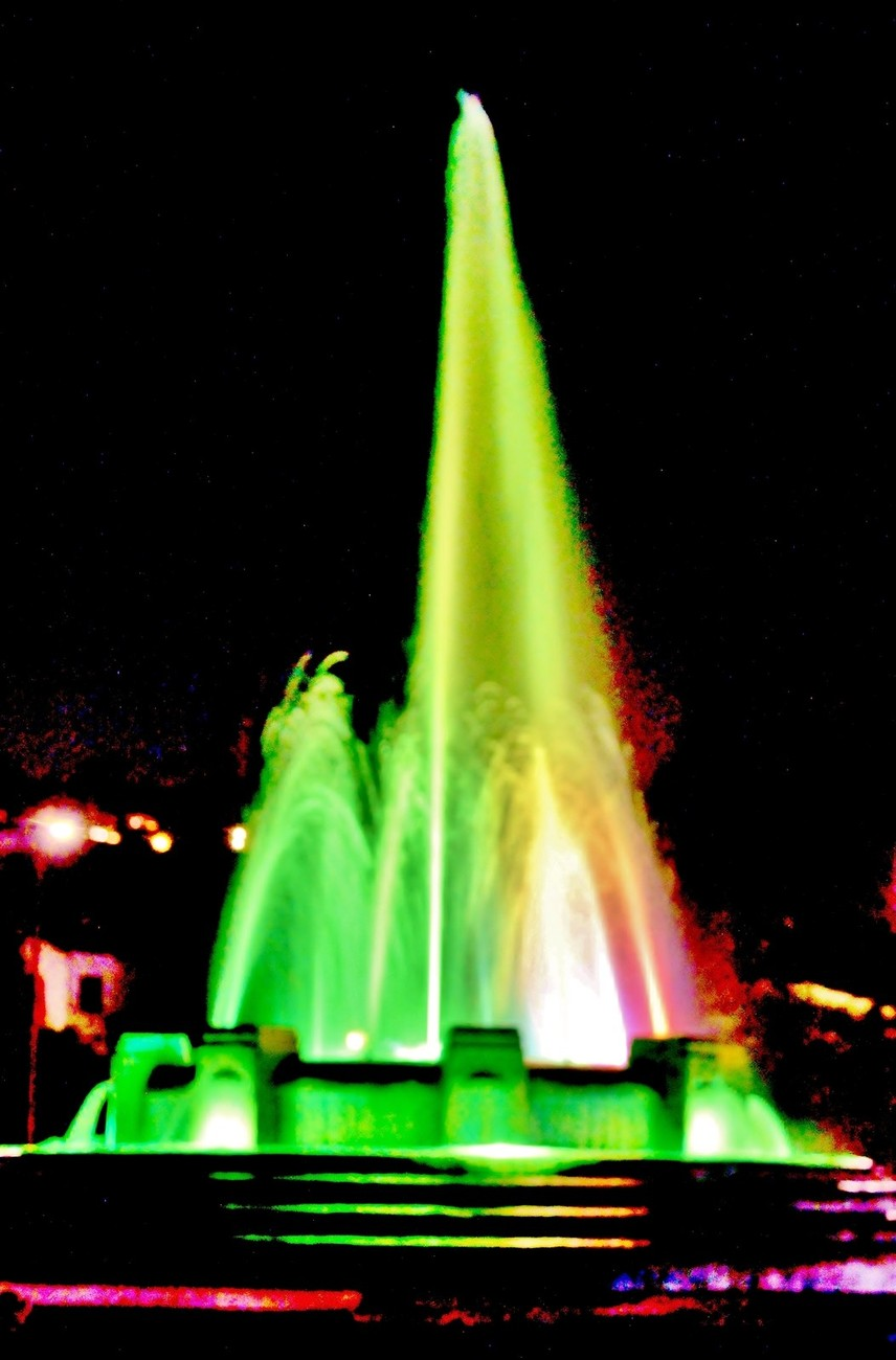 Mulholland Fountain at Night Rainbow
