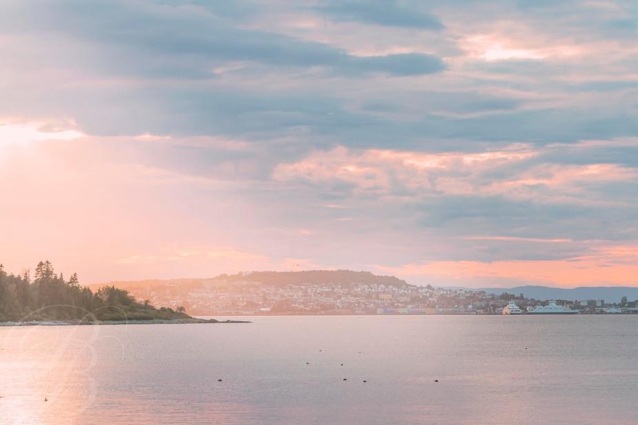 The small city of Horten in Norway. Taken from a beach on Bastøy.