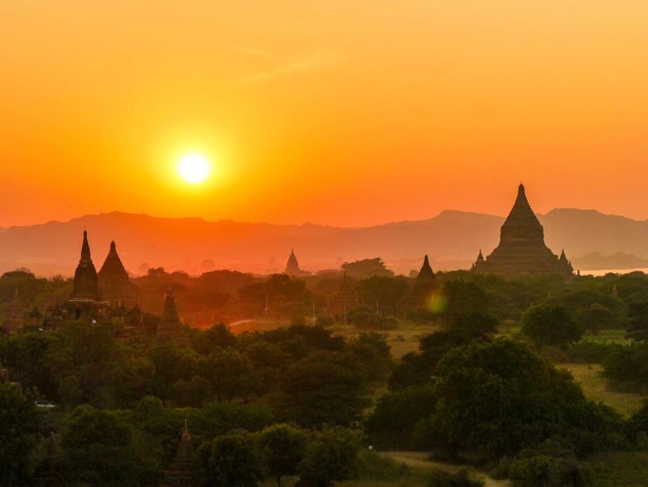 Magical sunset at temple field of Bagan Myanmar