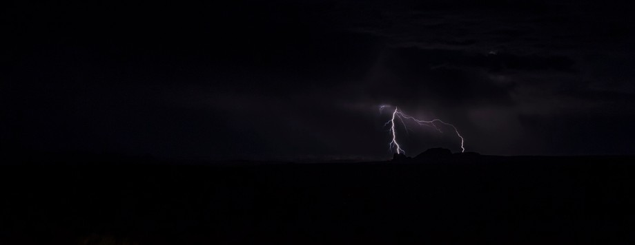 Lightning shows the silhouette
