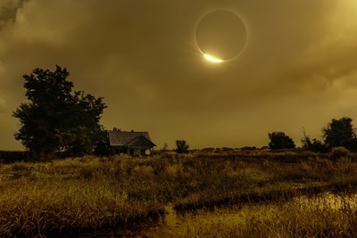 Diamond Ring Eclipse Over Abandoned Farmhouse in Idaho