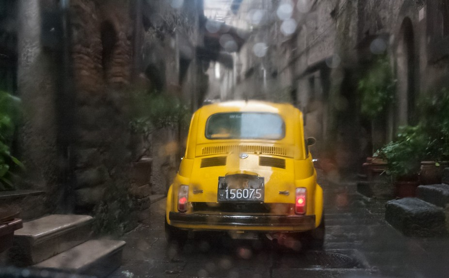 Every year, there is a club of vintage Fiat owners who go on parade through the narrow streets of...