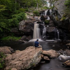 Buddy of mine checking out a waterfall we found in Connecticut.