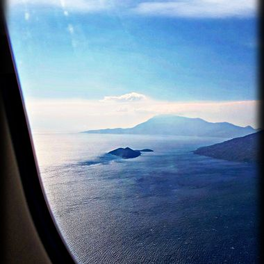 View from aeroplane to Greek Island of Samos.