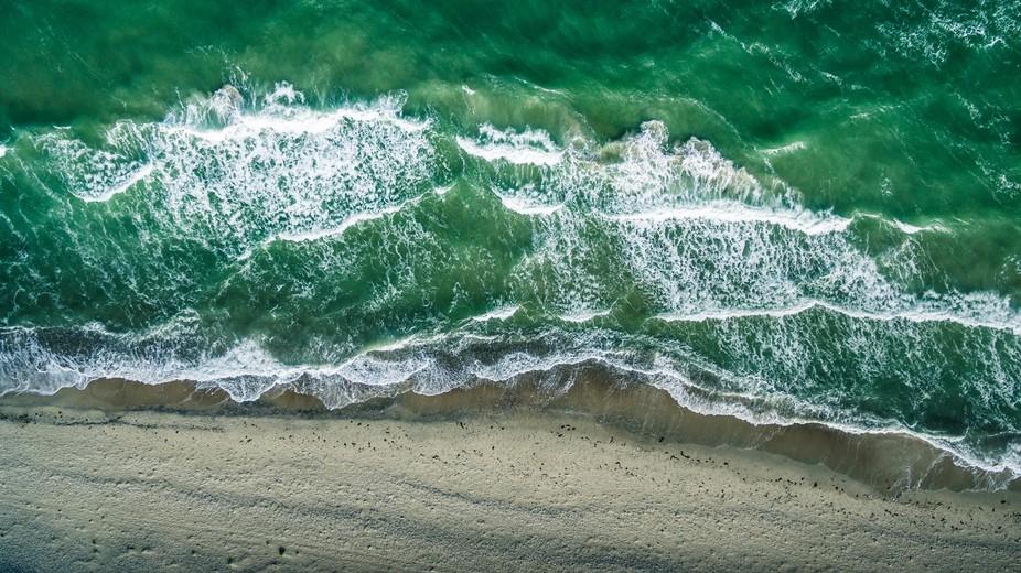 Waves on the beach north shore of Zealand Denmak