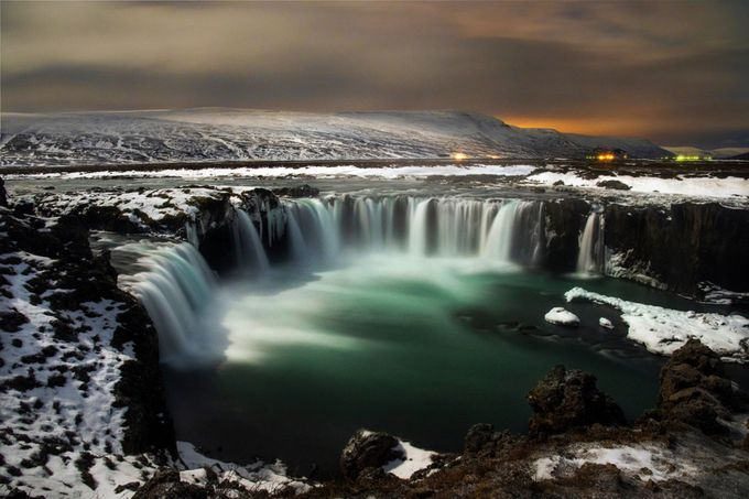 Godafoss falls, Iceland. This long exposure was taken around midnight under a full moon. Loved that the moon lit the snow covered landscape. by tadbrowning - Curves In Nature Photo Contest