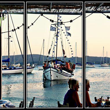 Greek tourist boat at Posidonio,Samos