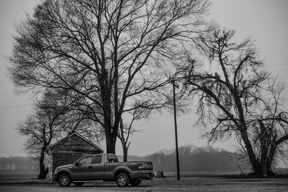 My truck, a 2008 Ford F-150 that I call the Grey Ghost, on a foggy morning on Highway 1 in Glen A...