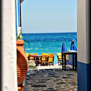View through a small alley in Kokarri Samos.