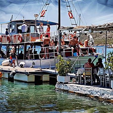 A tourist boat at Posidonio, Samos, Greece.