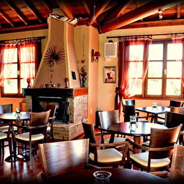 Inside of a cosy Cafe Bar Samos Island.