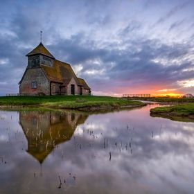 Fairfields church in Kent, one of the smallest churches in the United Kingdom captured at sunrise