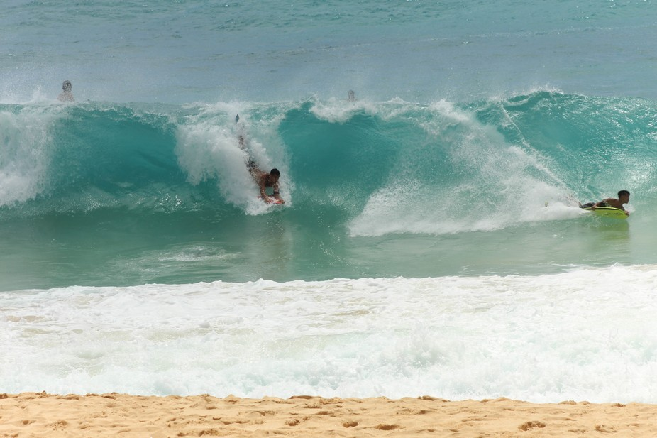 Surfer at Sandy Beach, Oahu, Hawaii