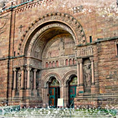 The 4 tower church entrance at Bad Homberg, Germany.