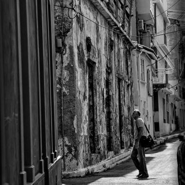 Samos Town backstreet old and run down.