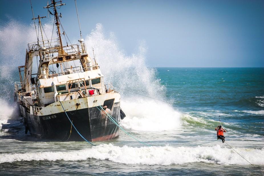 Sea rescue in namibian Skeleton Coast