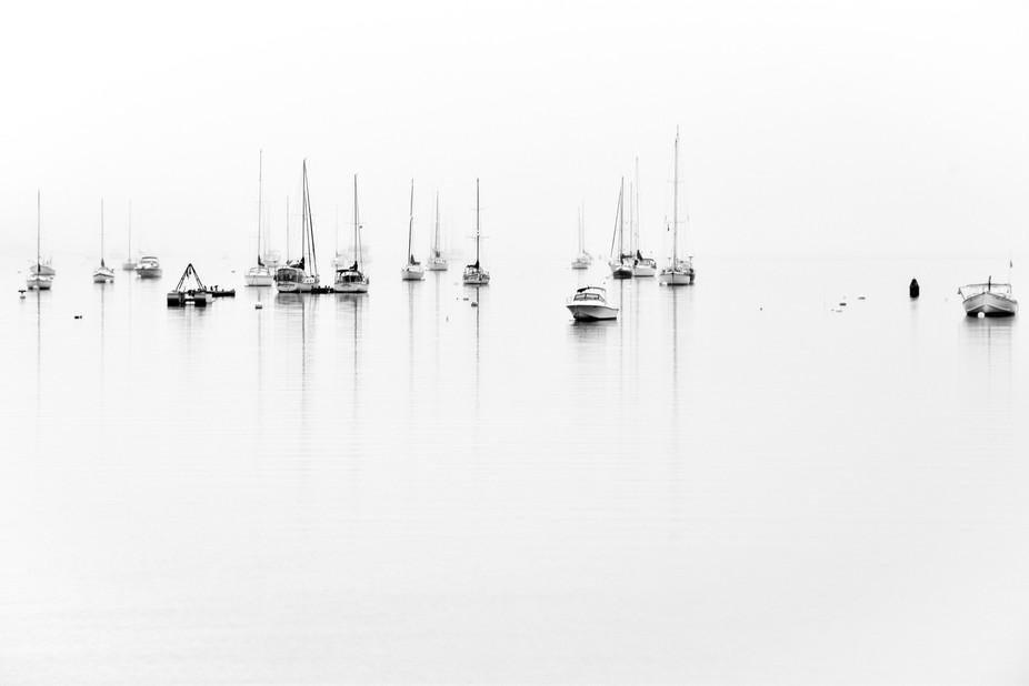 Harbor on a foggy morning