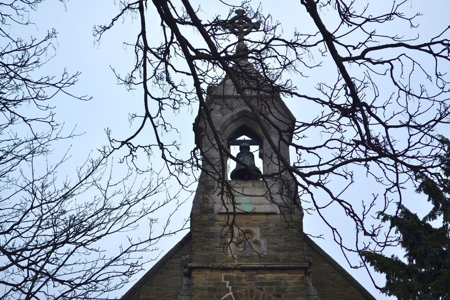 St.Giles church, Marfleet, Hull. Bell Tower through the trees.