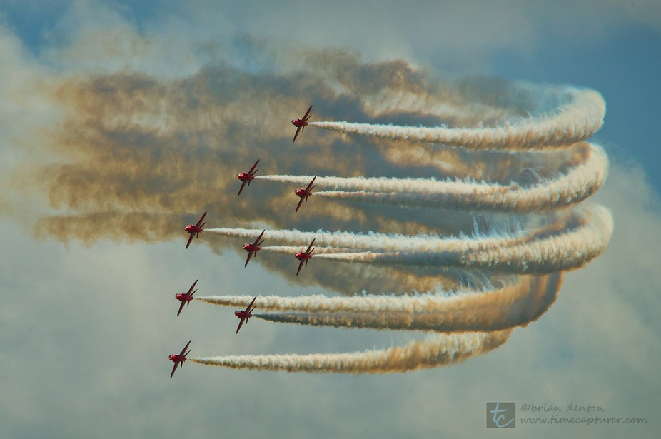 """The Red Arrows in diamond formation at """"Airbourne"""" in Eastbourne, East Sussex, ..."""